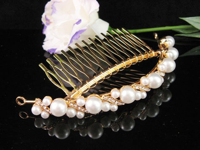 Bridal golden crystal pearl comb ;wedding tiara;bride headpiece ;opera accessories#188s