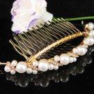 Bridal golden crystal pearl comb ;wedding tiara;bride headpiece ;opera accessories#188s