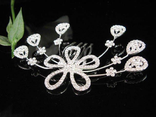 Bridal SILVER crystal pearl comb ;wedding tiara;bride headpiece ;opera accessories#706s