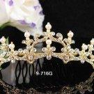 Fancy Bridal GOLDEN crystal comb ;wedding tiara;bride headpiece ;opera accessories#716G