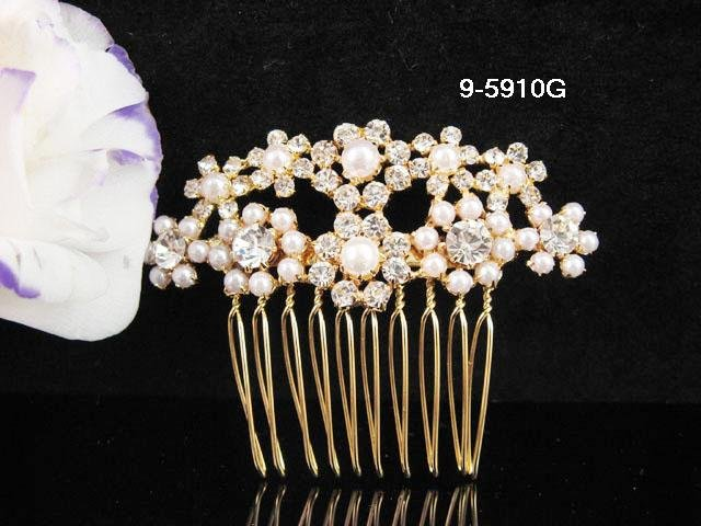 Fancy Bridal golden pearl crystal comb ;wedding tiara;bride headpiece ;opera accessories#5910g