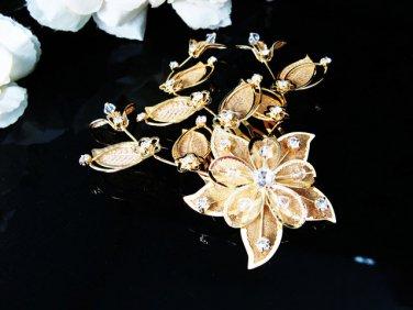 Golden Bridal crystal comb ;Floral hair comb;Wedding tiara;bride headpiece ;opera accessories#42g