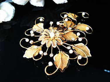 Golden Bridal crystal comb ;Floral hair comb;Wedding tiara;bride headpiece ;opera accessories#94g