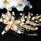 Golden Bridal crystal comb ;Floral hair comb;Wedding tiara;bride headpiece ;opera accessories#89g