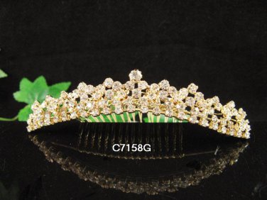 Golden Bridal crystal comb ;Floral hair comb;Wedding tiara;bride headpiece ;opera accessories#58g