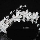 Silver floral hair comb;Bridal crystal comb ;Wedding tiara;bride headpiece ;opera accessories#2227