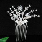 Silver floral hair comb;Bridal crystal comb ;Wedding tiara;bride headpiece ;opera accessories#84s