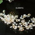 Golden floral hair comb;Bridal crystal comb ;Wedding tiara;bride headpiece ;opera accessories#947g