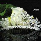 Handmade silver crystal comb ;Wedding tiara;bride headpiece ;opera accessories#9251