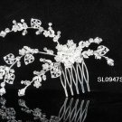 Floral silver crystal comb ;Wedding tiara;bride bridesmaid headpiece ;opera accessories#947