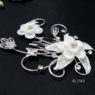 Floral silver crystal comb ;Wedding tiara;bride bridesmaid headpiece ;opera accessories#1763