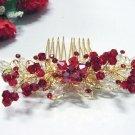 Floral golden crystal comb ;Wedding tiara;bride bridesmaid headpiece ;opera accessories#1141grd