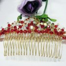 Floral golden crystal comb ;Wedding tiara;bride bridesmaid headpiece ;opera accessories#1233g