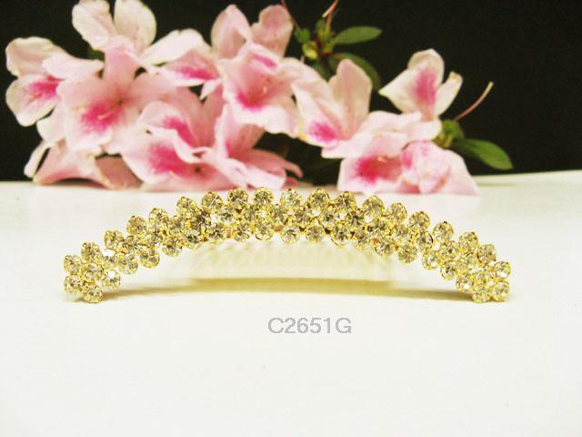 Fancy golden crystal comb ;Wedding tiara;bride bridesmaid headpiece ;opera accessories#2651g