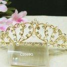Sweet golden crystal pearl comb ;Wedding tiara;bride bridesmaid headpiece ;opera accessories#3569g
