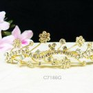 Floral  Wedding tiara;Fancy golden crystal comb ;bride bridesmaid headpiece ;opera accessories#7186g