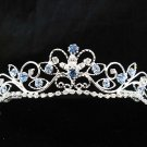 Wedding tiara;Fancy silver crystal blue tiara;bride bridesmaid headpiece ;opera accessories#11bl