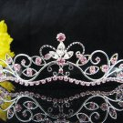 Wedding tiara;Fancy silver crystal pink tiara;bride bridesmaid headpiece ;opera accessories#11lp