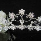 Floral Silver Bridal tiara;crystal wedding tiara ;bridesmaid headpiece ;opera accessories#8026