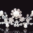 Floral Silver Bridal tiara;crystal wedding tiara ;bridesmaid headpiece ;opera accessories#8498
