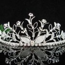 Floral Silver Bridal tiara;crystal wedding tiara ;bridesmaid headpiece;Teen girt headband #4164