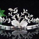 Floral Silver Bridal tiara;crystal wedding tiara ;bridesmaid headpiece;Teen girt headband #4163