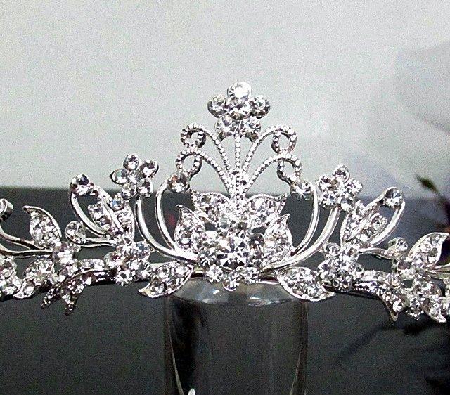 crystal wedding tiara;Silver Fancy Bridal tiara;;bridesmaid headpiece;Teen girt headband #1065
