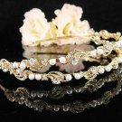 Golden Fancy Bridal tiara;crystal wedding tiara ;bridesmaid headpiece;Twin Floral headband #115g