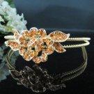 Bridal Tiara;Bride regal ;floral golden dancer regal ;Rhinestone Wedding Headband;opera tiara#1132g