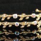 Bride golden AB headband;Bridal Tiara;dancer regal ;Rhinestone Wedding Headpiece;opera tiara#534g