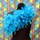 Blue Fancy Feather Wrap;Bridesmaid shawl;Dancer Opera Scarves ;Bridal Rope ;wedding Tippet#06