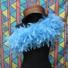 Blue Fancy Feather Wrap;Bridesmaid shawl;Dancer Opera Scarves ;Bridal Rope ;wedding Tippet#08