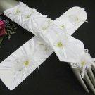 Satin elbow floral white Bridesmaid gloves;Dancer Opera Accessories;Wedding Bridal gloves#72w