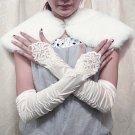 Finger-less ivory satin Bridesmaid gloves;Dancer Opera Accessories;Wedding Bridal gloves#64i