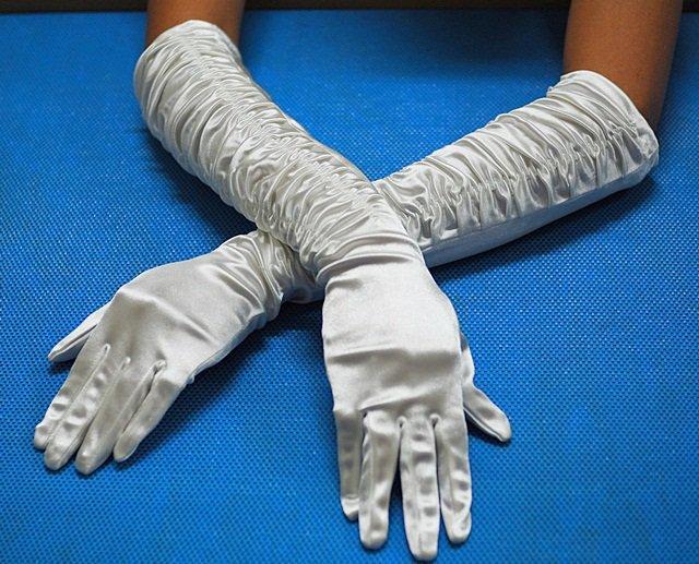 "19"" Satin with pleat Bridesmaid gloves;Dancer Opera Accessories;Wedding Bridal gloves#22i"