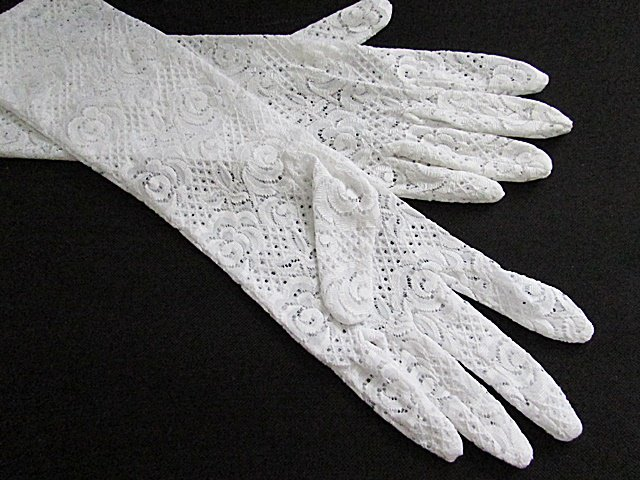 White Floral Lace Elbow Bridesmaid gloves;Dancer Opera Accessories;Wedding Bridal gloves#124w