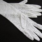 White Floral Lace Elbow Bridesmaid gloves;Dancer Opera Accessories;Wedding Bridal gloves#124w