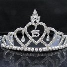 Silver Rhinestone Happy Birthday 15 tiara Elegance Headpiece;Dancer regal;Girls Tiaras;#315