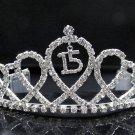 Sweet Happy Birthday 15 Silver Rhinestone tiara ;Elegance Headpiece;Dancer regal;Girls Tiaras #8881
