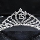 Sweet Happy Birthday 15 Silver Rhinestone tiara ;Elegance Headpiece;Dancer regal;Girls Tiaras #3167
