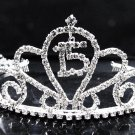 Sweet Happy Birthday 15 Silver Rhinestone tiara ;Elegance Headpiece;Dancer regal;Girls Tiaras #1576