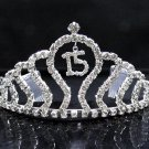 Sweet Happy Birthday 15 Silver Rhinestone tiara;Huge Headpiece;Dancer regal;Girls Tiaras #6093