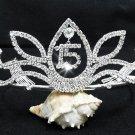 Sweet Happy Birthday 15 Silver Rhinestone tiara;Fancy Headpiece;Dancer regal;Girls Tiaras #6930