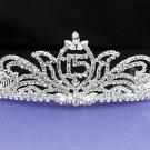 Sweet Happy Birthday 15 Silver Rhinestone tiara;Fancy Headpiece;Dancer regal;Girls Tiaras #7377