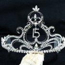 Huge Sweet Happy Birthday 15 Silver Rhinestone tiara;Fancy Headpiece;Dancer regal;Girls Tiaras #8901