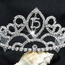 Huge Sweet Happy Birthday 15 Silver Rhinestone tiara;Fancy Headpiece;Dancer regal;Girls Tiaras #8957