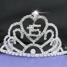 Huge Sweet Happy Birthday 15 Silver Rhinestone tiara;Fancy Headpiece;Dancer regal;Girls Tiaras #7063