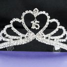 Huge Sweet Happy Birthday 15 Silver Rhinestone tiara;Fancy Headpiece;Dancer regal;Girls Tiaras #633