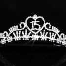 Sweet Happy Birthday 15 Silver Rhinestone tiara;Fancy Headpiece;Dancer regal;Girls Tiaras #1127