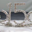 Sweet Happy Birthday 15 Silver Rhinestone tiara;Fancy Headpiece;Dancer regal;Girls Tiaras #523
